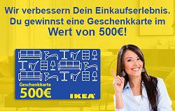 500 euro ikea gutschein f r umfrage teilnahme t glich die besten deals gewinnspiele und. Black Bedroom Furniture Sets. Home Design Ideas